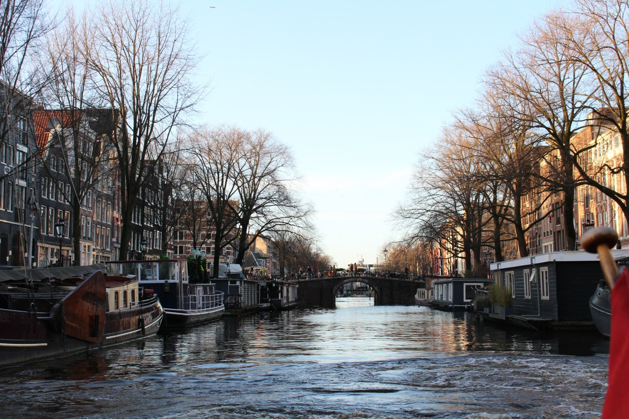 Boats on gracht in Amsterdam