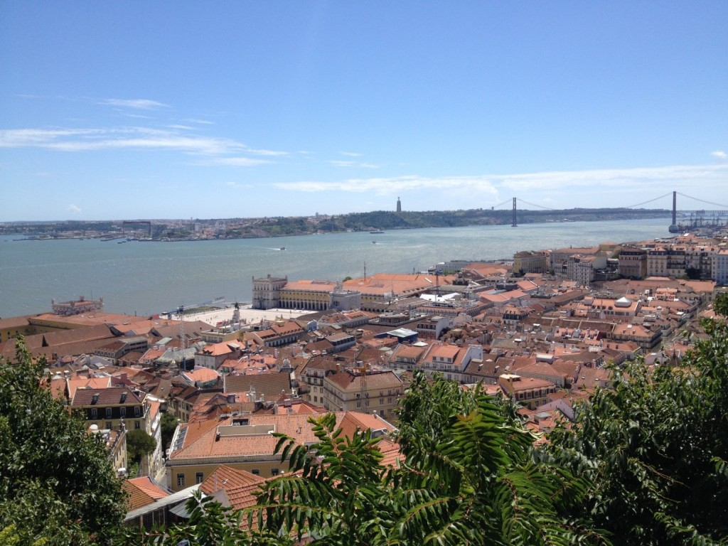 View over Lisbon bridge and ocean