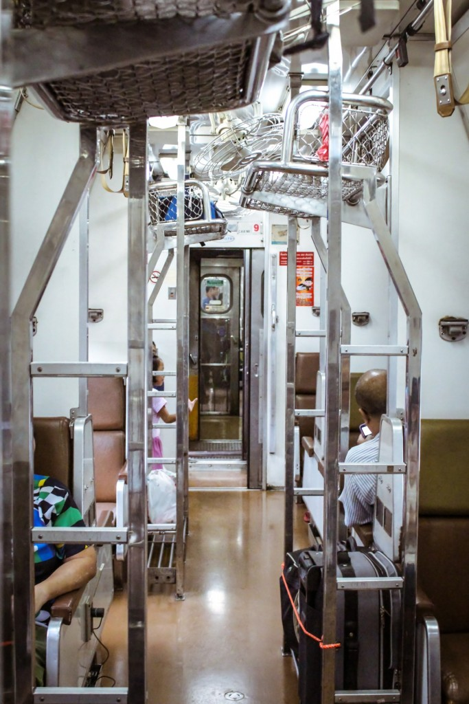 Inside 2nd class Thai sleeper train