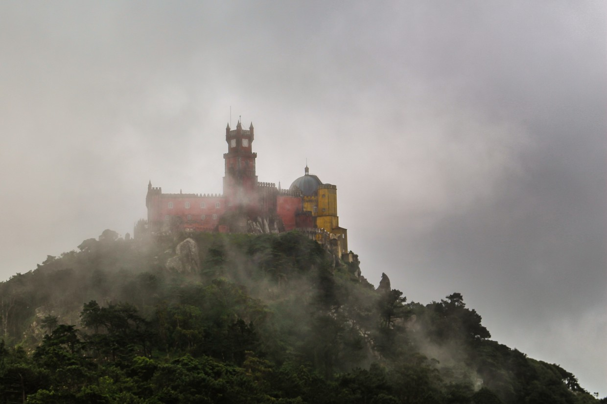 Sintra castle in fog