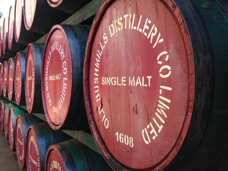 Bushmills distillery whiskey barrels