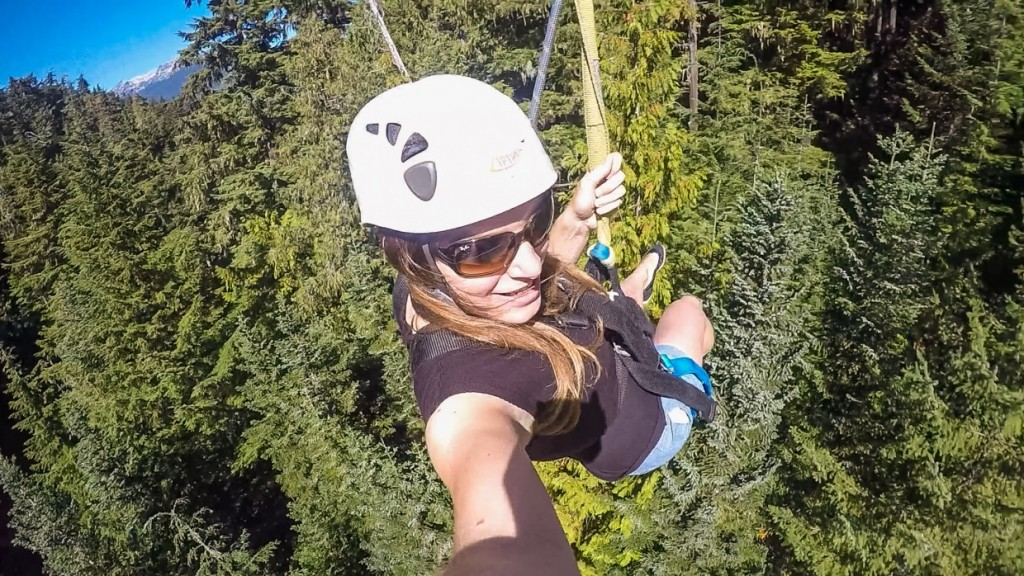 In the air, zipline in WHistler, Canada