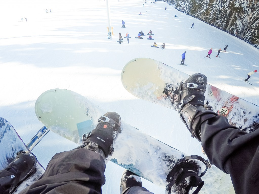 Snowboarding on Cypress Mountain
