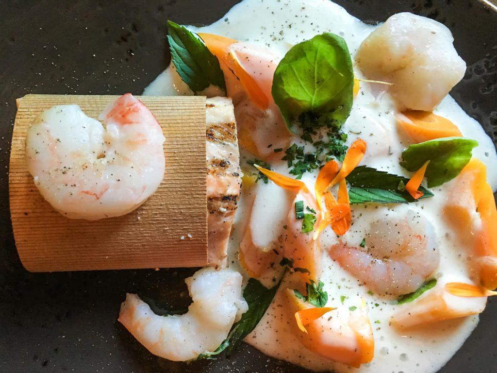 Prawns and Salmon at Aura Restaurant, Nita Lake Lodge