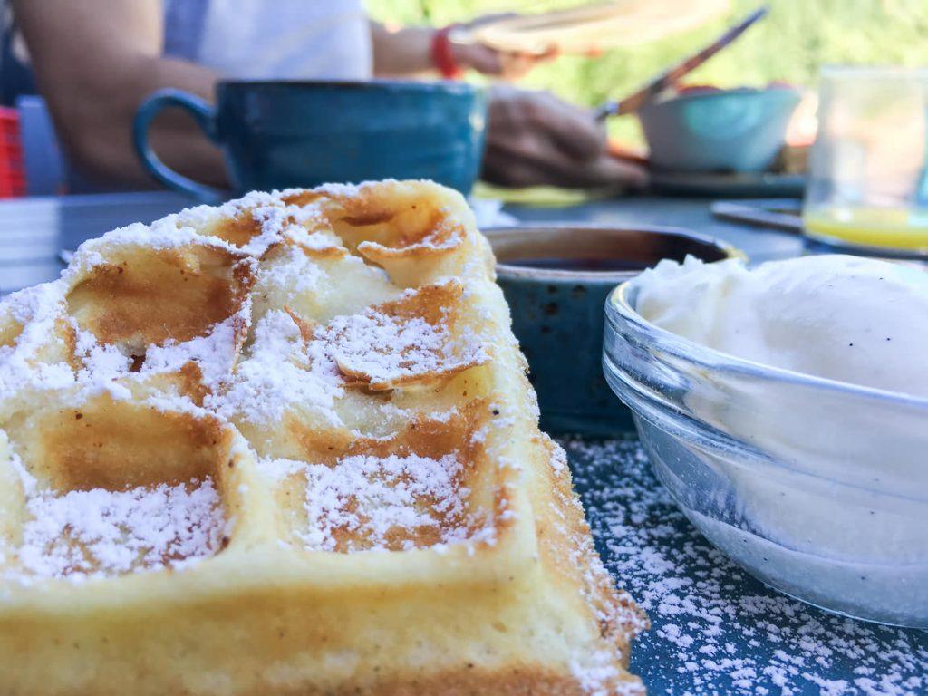 Waffle for breakfast at Nita Lake Lodge