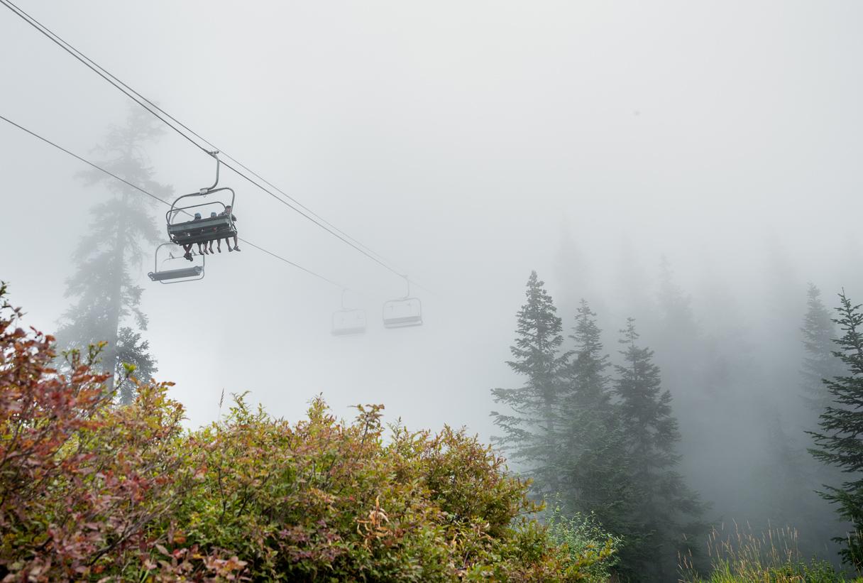 Foggy skilift on Grouse Mountain