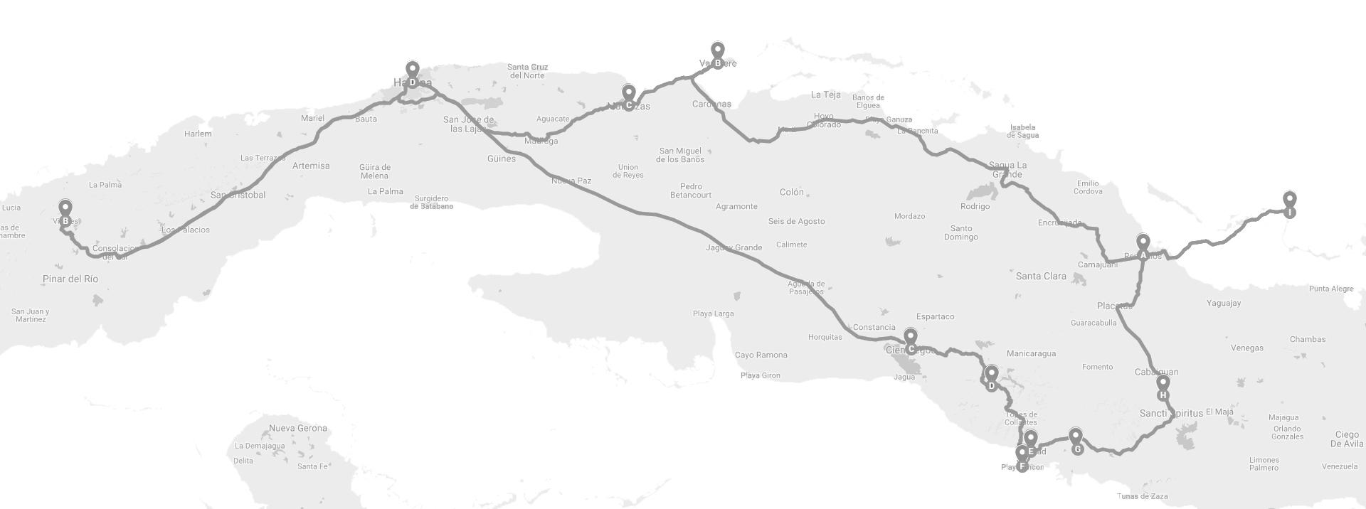 Cuba Map Cuba itinerary
