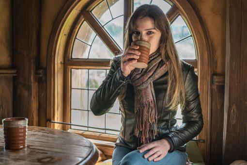 Drinking cider in Hobbiton