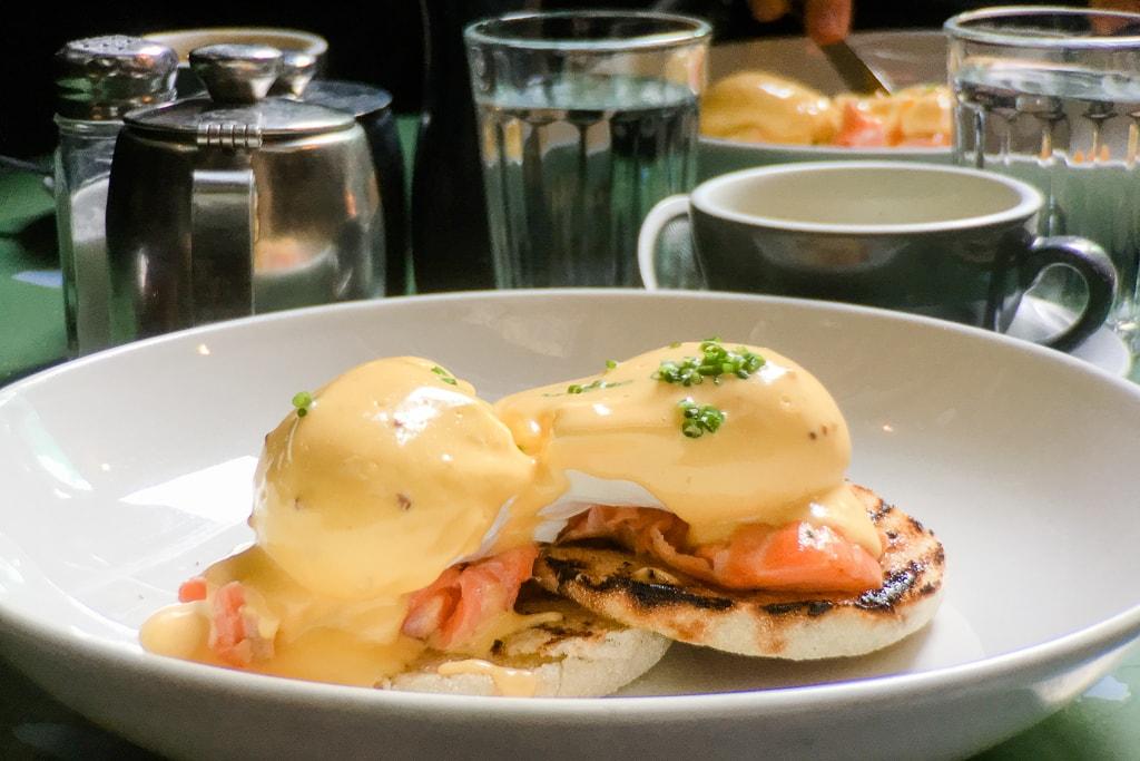Salmon eggs benedict brunch Wellington