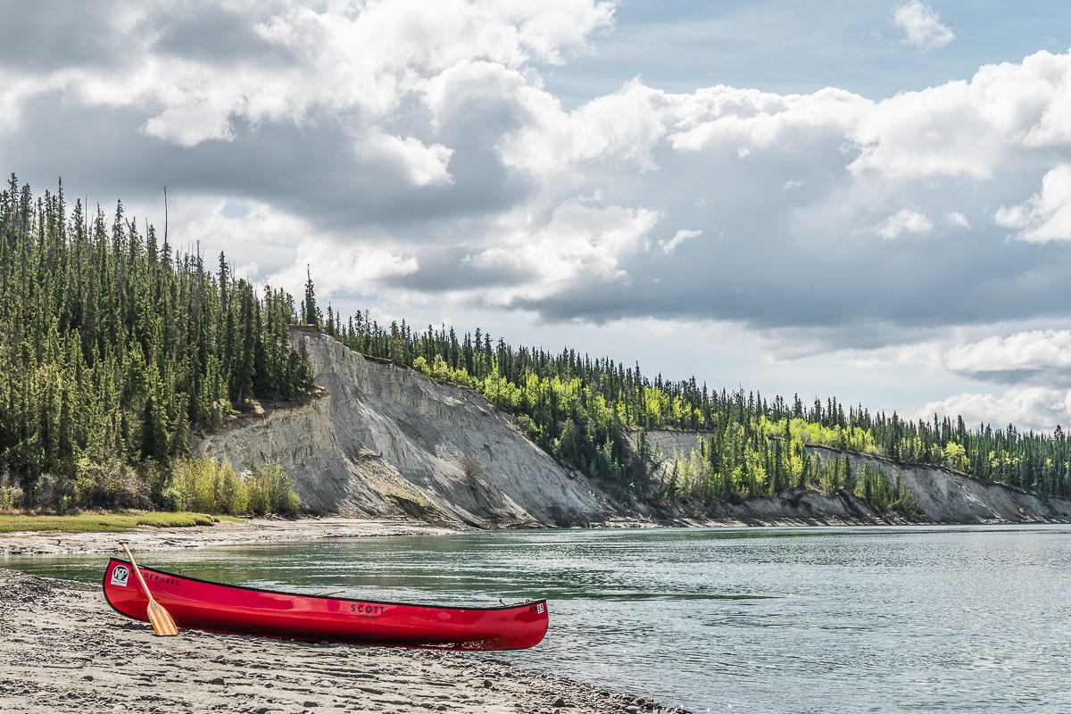 Canoe on the Yukon river Yukon road trip