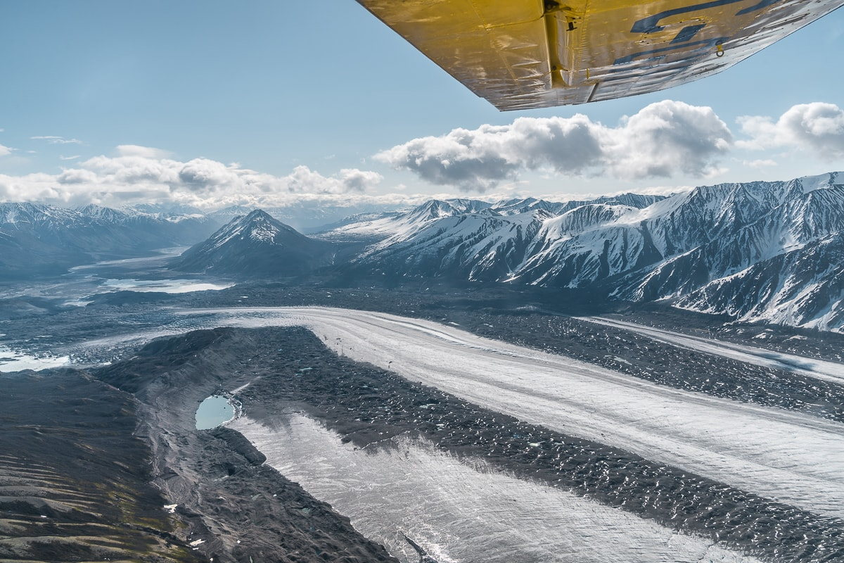 Flying over Kaskawulsh glacier travel yukon