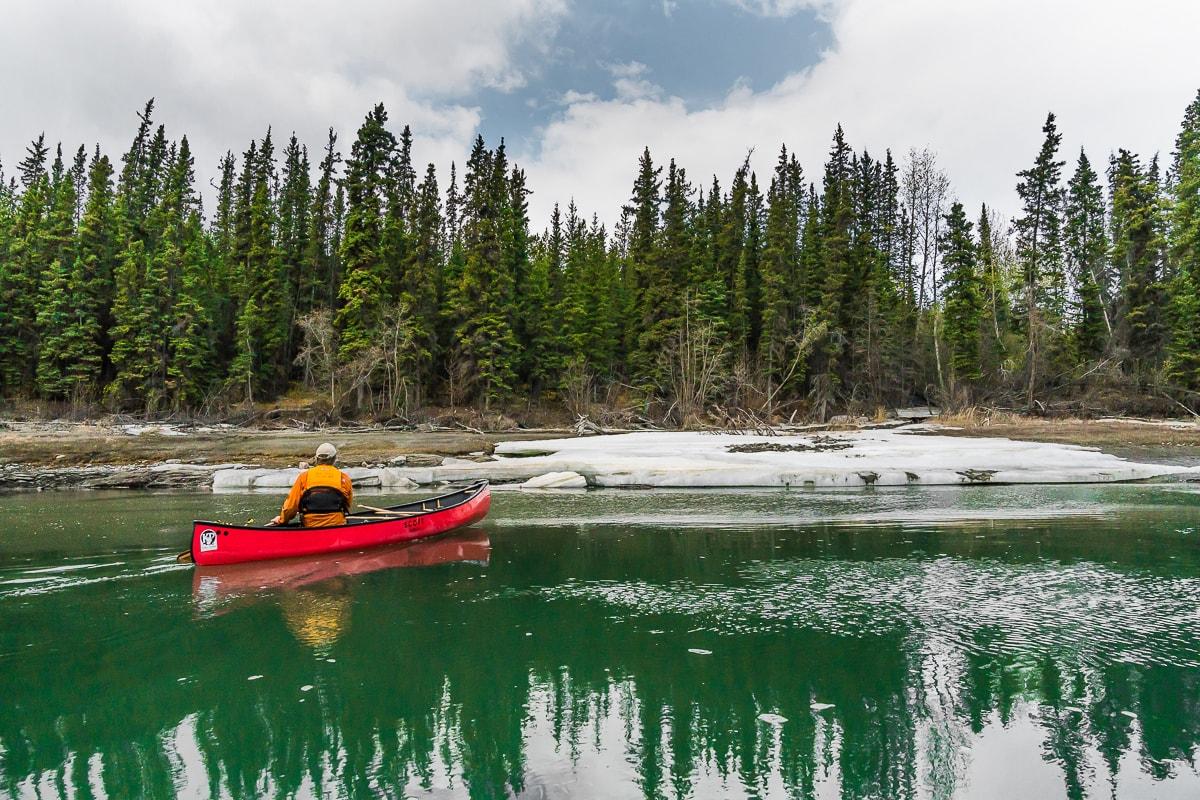Yukon canoe trip in Spring